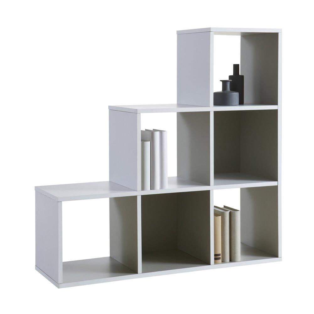 Etagere Murale En Escalier bibliothèque escalier 6 cases coloris blanc et gris foncé