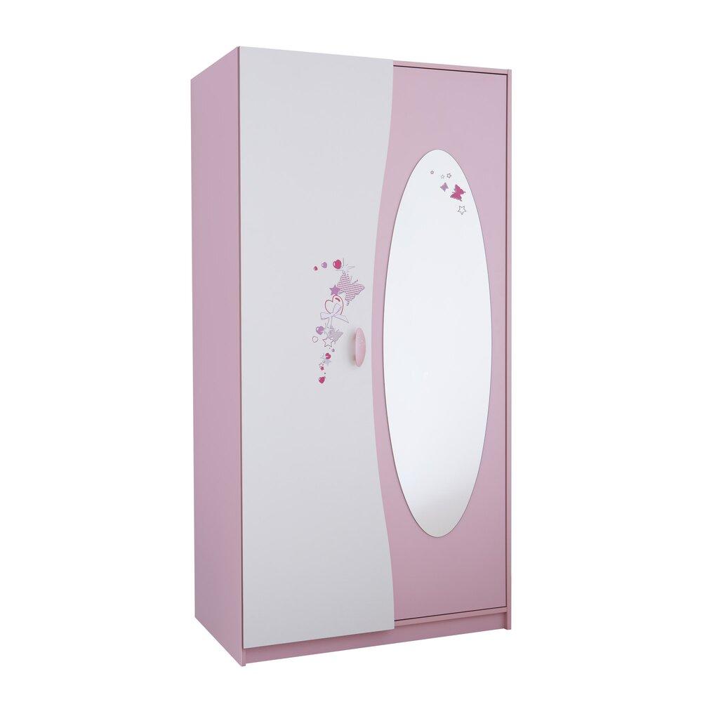 Armoire - Armoire 2 portes + miroir coloris rose orchidée et blanc perle photo 1