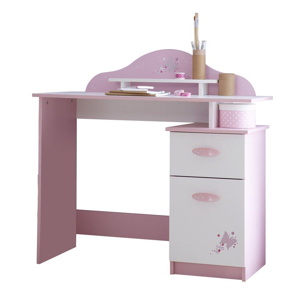 Chambre enfant - Bureau 1 tiroir + 1 porte ouvrante coloris rose orchidée et blanc perle photo 1