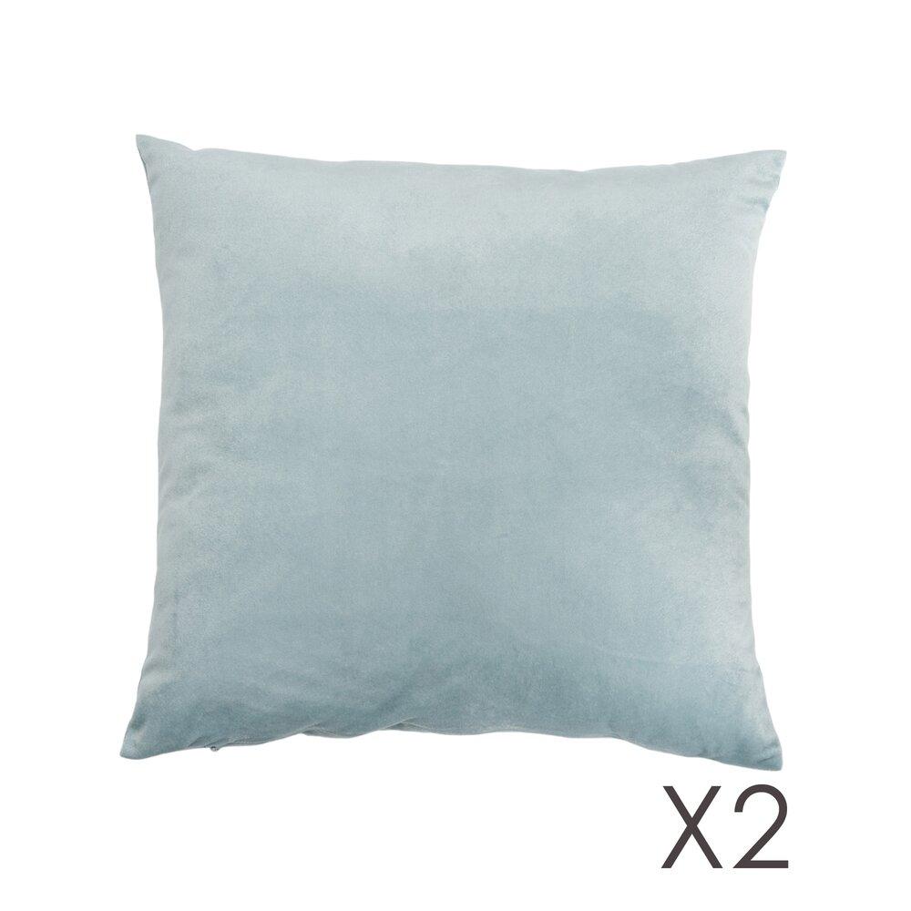 Coussin - Lot de 2 coussins 45x45 velours coloris gris bleu photo 1