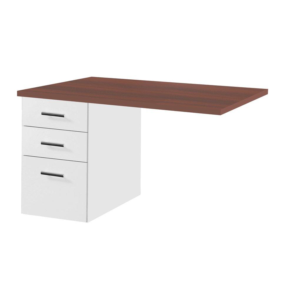 Bureau professionnel - Caisson sous retour de bureau professionnel 120x30 cm coloris wengé et blanc photo 1