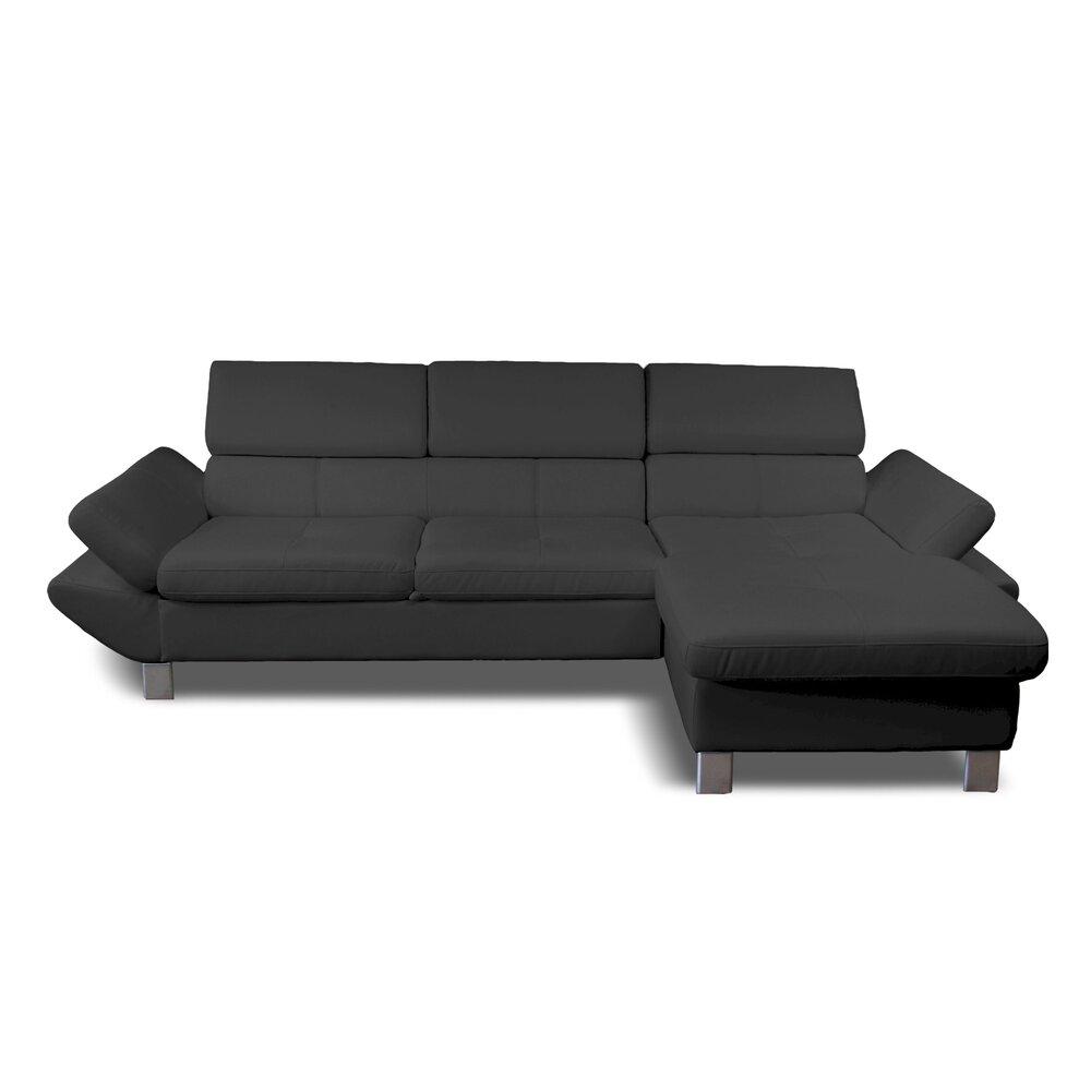 Canapé - Canapé d'angle à droite fixe 3 places en PU gris anthracite photo 1