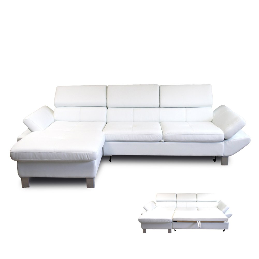 Canapé - Canapé d'angle à gauche convertible 3 places en PU blanc photo 1