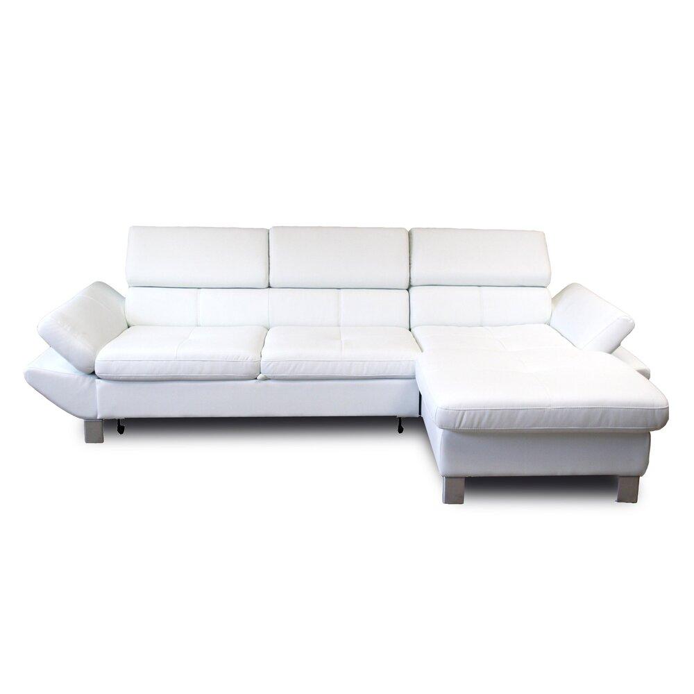 Canapé - Canapé d'angle fixe à droite 3 places en PU blanc photo 1