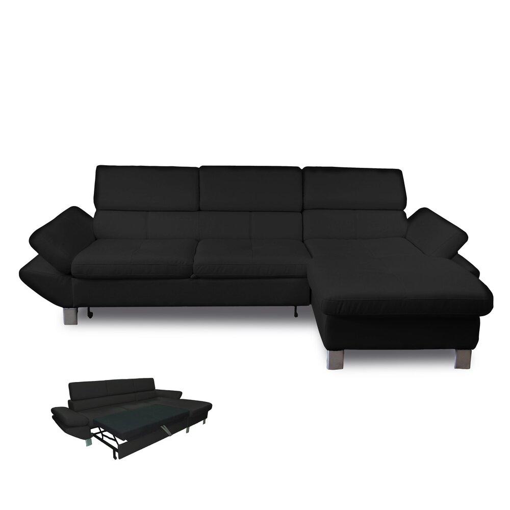 Canapé - Canapé d'angle convertible à droite 3 places en PU noir photo 1