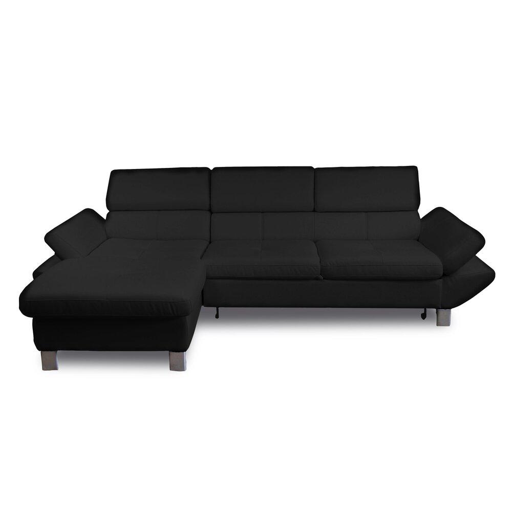 Canapé - Canapé d'angle à gauche fixe 3 places en PU noir photo 1