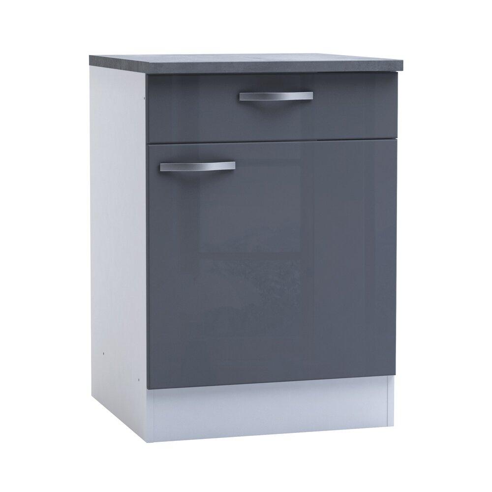 Meuble bas de cuisine 1 porte 1 tiroir 60cm - coloris gris ...