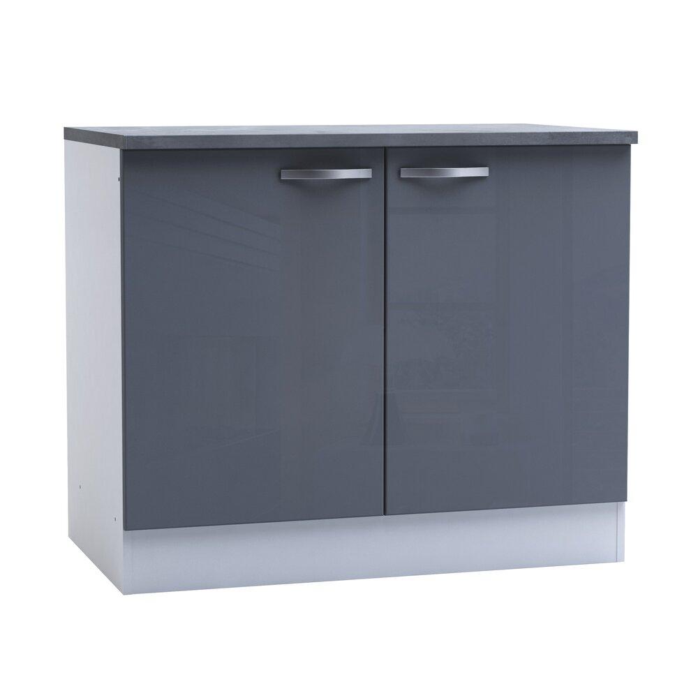 Meuble bas de cuisine 11 portes 11cm - coloris gris brillant