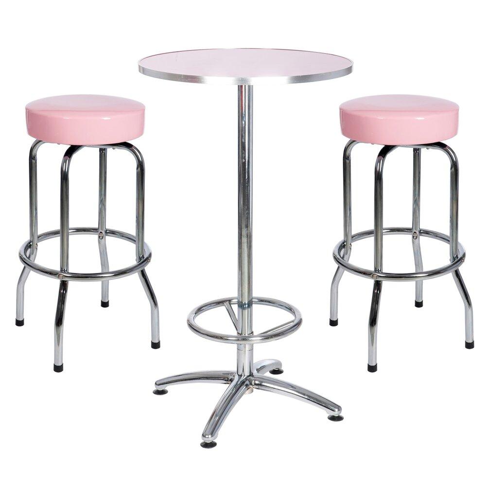 Set Table Ronde De Cocktail Metal Et 2 Tabourets Ronds Metal Coloris Fuchsia Maison Et Styles