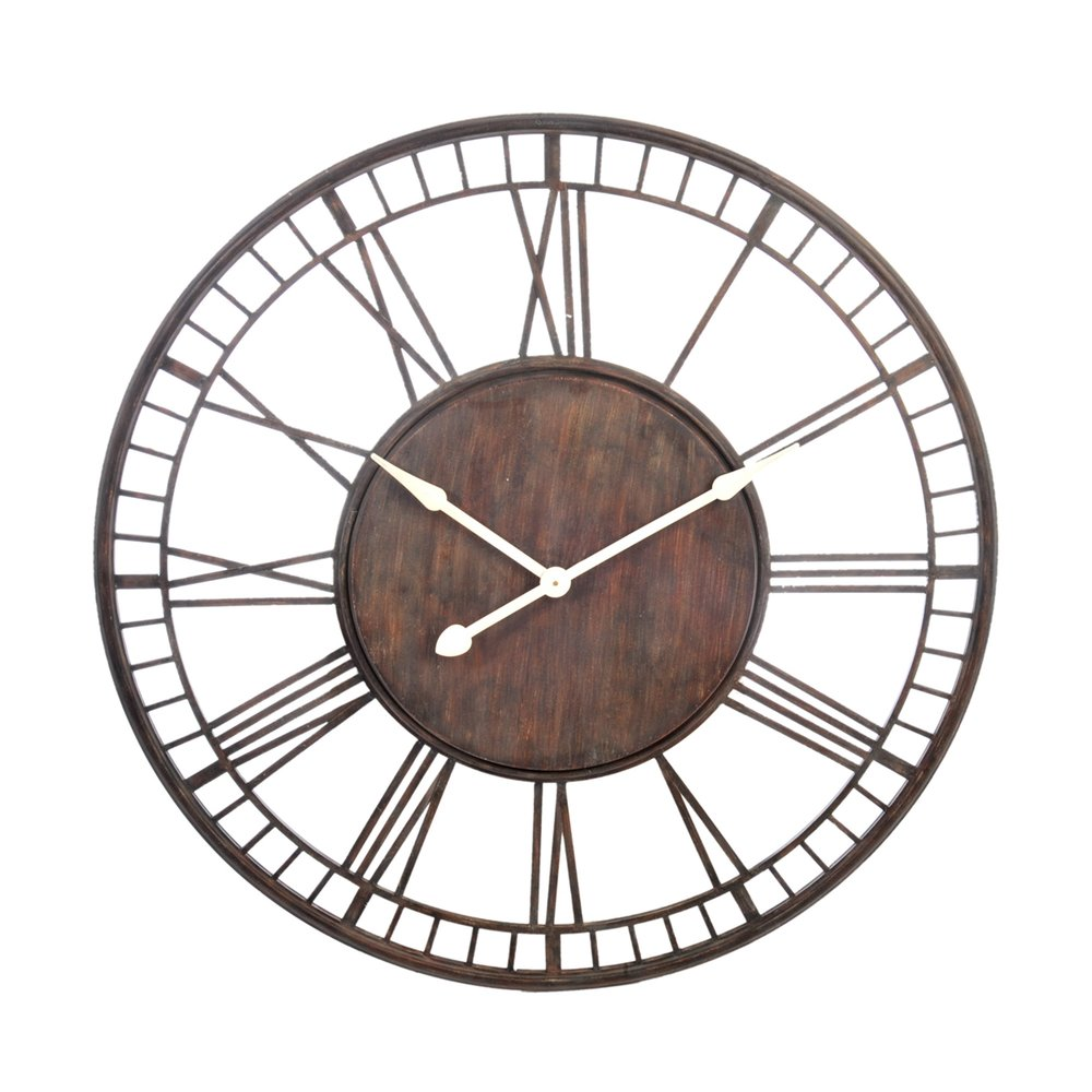 Grosse Horloge Fer Forgé horloge ronde avec chiffres romains en fer forgé 107cm