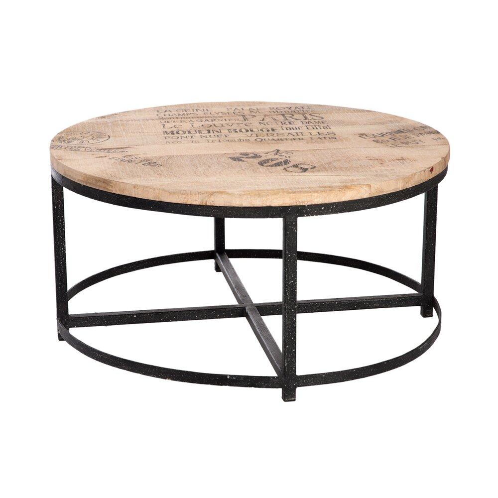 Table Basse Ronde En Bois Et Pieds Metal Coloris Bois Maison Et Styles