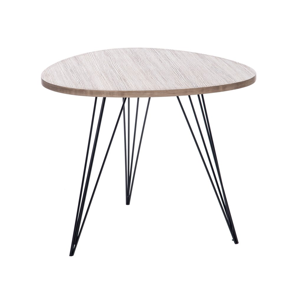 Table Basse Ronde 60 Cm En Bois Et Pieds Metal Coloris Bois Maison Et Styles