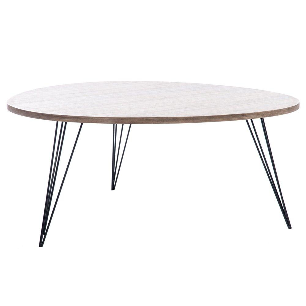 Table Basse Ronde 90cm En Bois Et Pieds Metal Coloris Bois Maison Et Styles