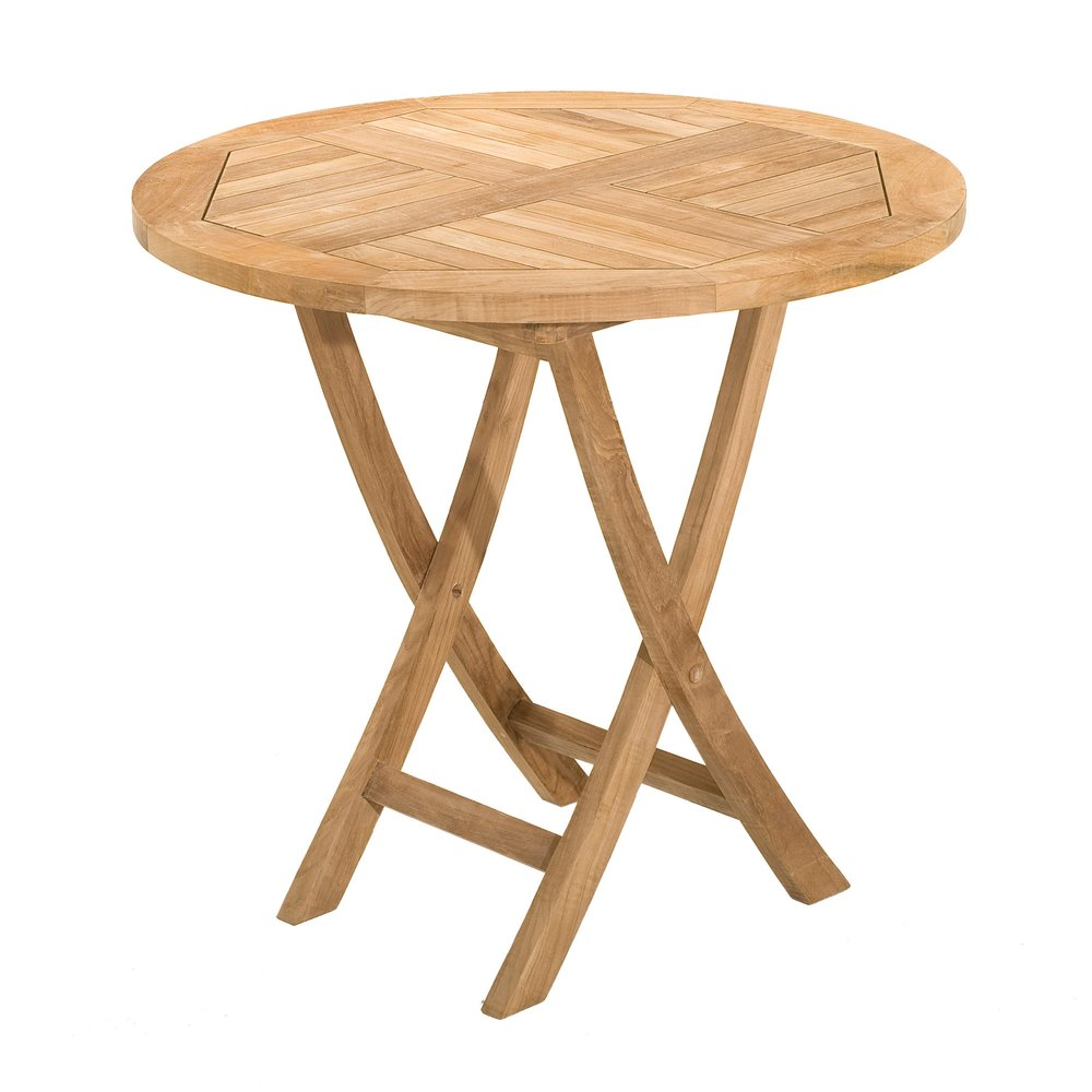 Meuble de jardin - Table ronde pliante en teck 80 cm photo 1