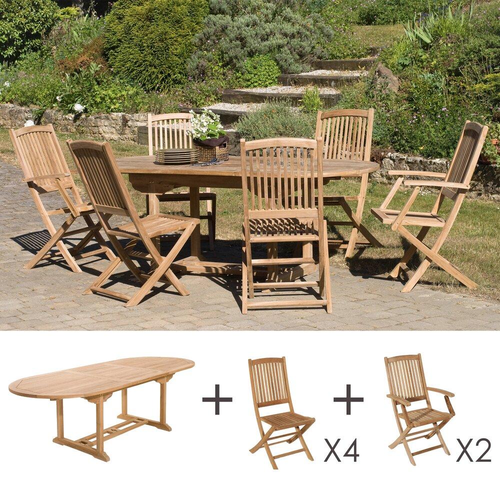 Meuble de jardin - Ensemble en teck: une table ovale, 4 chaises et 2 fauteuils photo 1