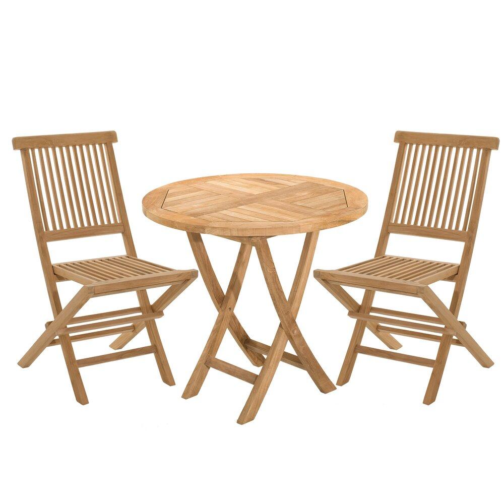 Meuble de jardin - Ensemble en teck: une table ronde et 2 chaises photo 1