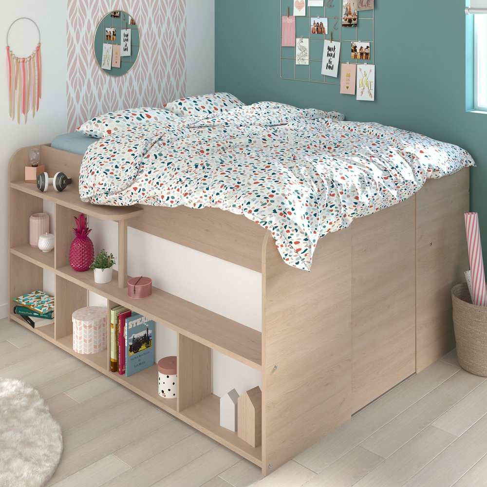 Lit Avec Rangement 140x200cm Coloris Chene Et Blanc Alex Maison Et Styles