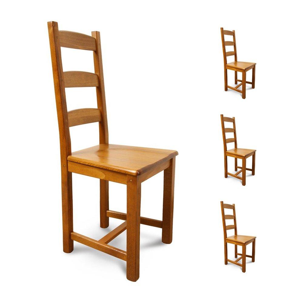 Chaises - Lot de 4 chaises Hêtre assise bois Teinte chêne moyen photo 1
