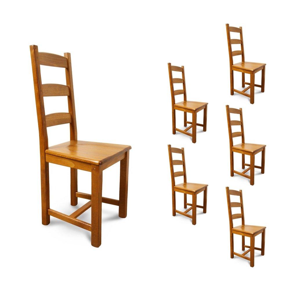 Chaises - Lot de 6 chaises Hêtre assise bois Teinte chêne moyen photo 1