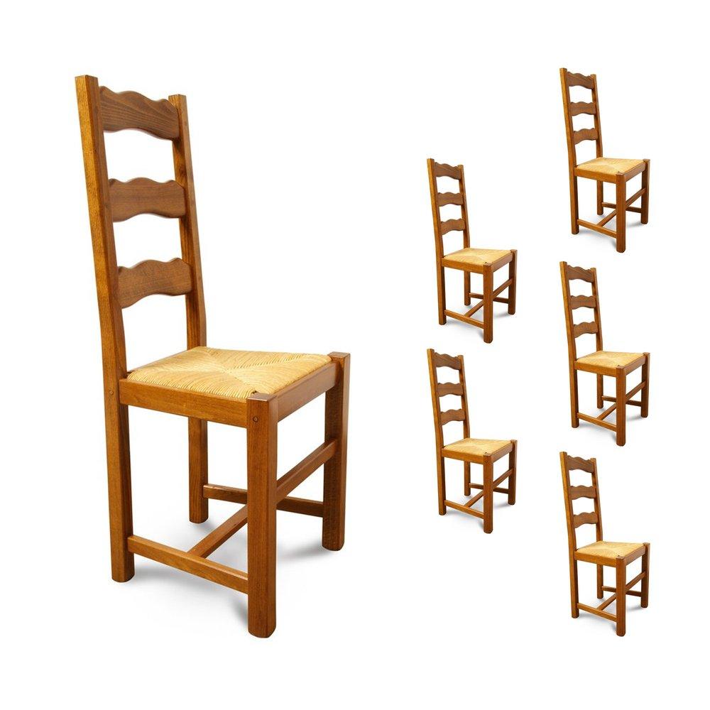 Chaise - Lot de 6 chaises Hêtre assise paille Teinte chêne doré photo 1