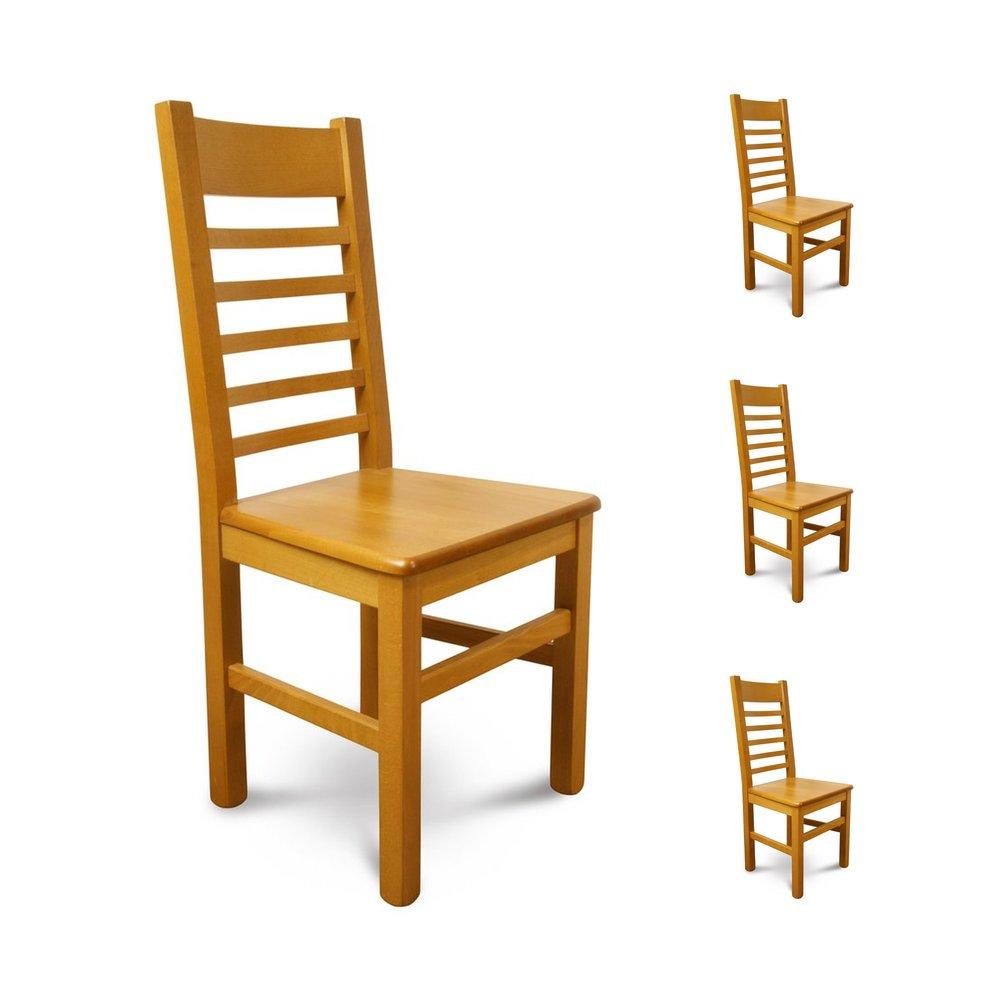 Chaise - Lot de 4 chaises Hêtre assise bois Teinte chêne clair photo 1
