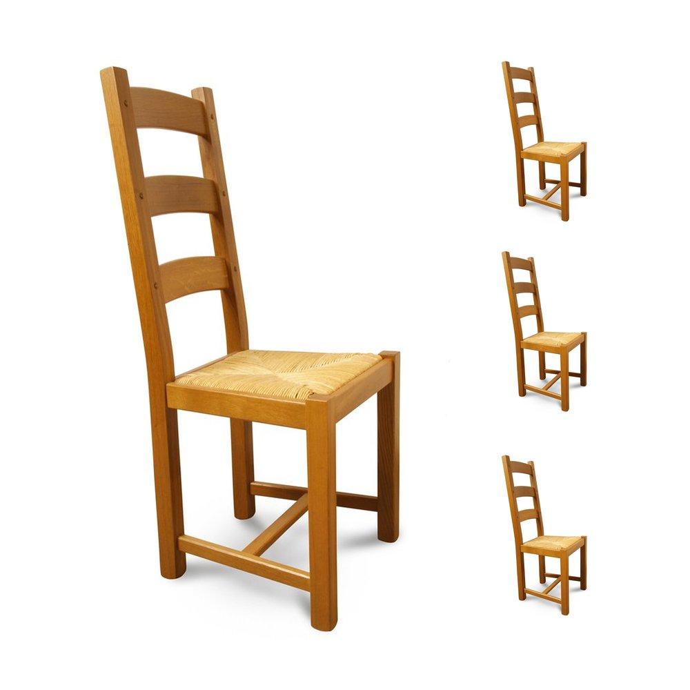 Chaises - Lot de 4 chaises Chêne assise paille Teinte chêne moyen photo 1