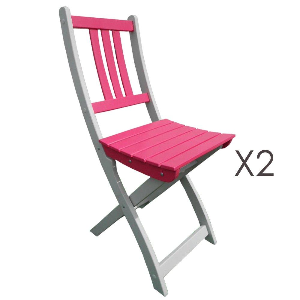 Lot de 2 chaises pliantes en acacia coloris fushia | Maison ...