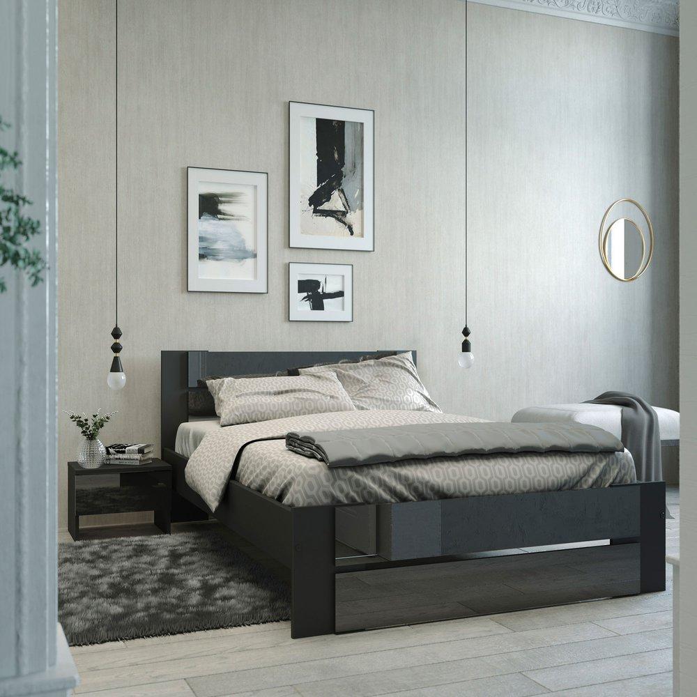 Chambre - Lit 140x190cm coloris noir photo 1