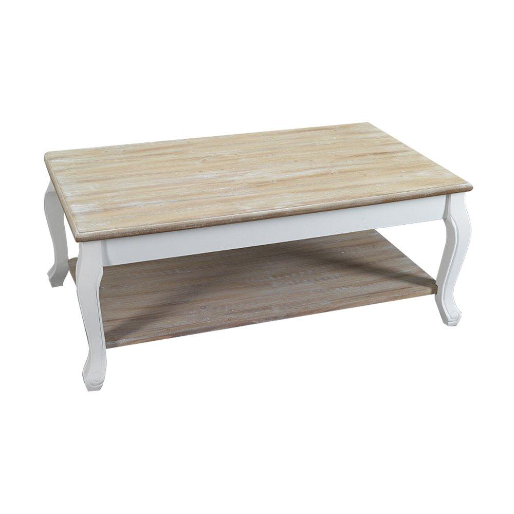 Table Basse 2 Plateaux En Bois 100x60x41 Cm Coloris Blanc Leonie