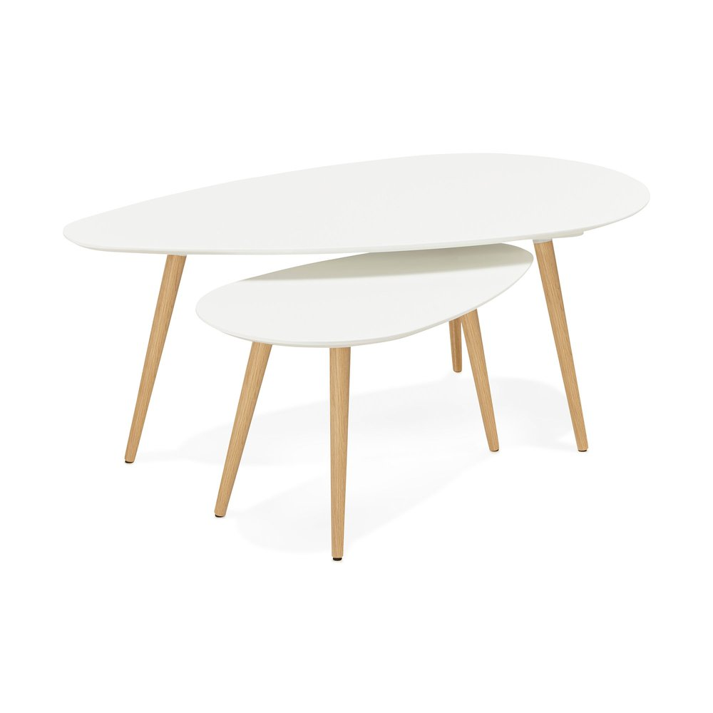 Table basse - Tables gigognes blanches 116 x 66 x 45 cm - BALTIC photo 1