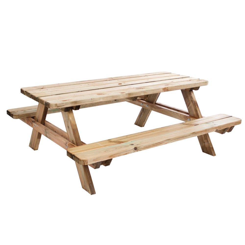 Meuble de jardin - Table de pique-nique en bois 6 personnes Matisse 180x165x70cm photo 1