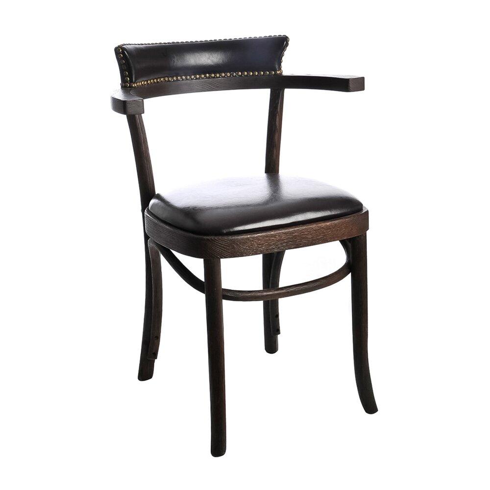 Chaise - Chaise dossier clouté coloris cuir brun et bois photo 1