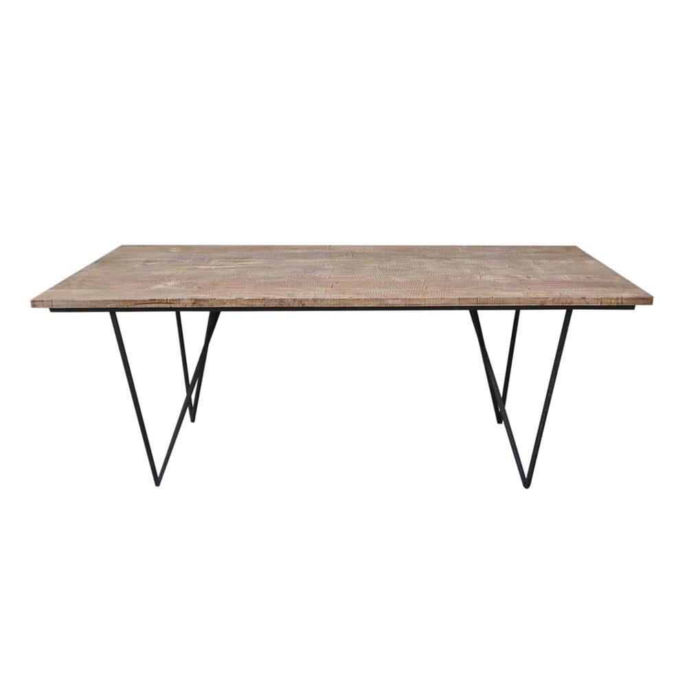 rectangulaire Table bois naturel fer 200x90x75cm pieds 0wOkXN8nP