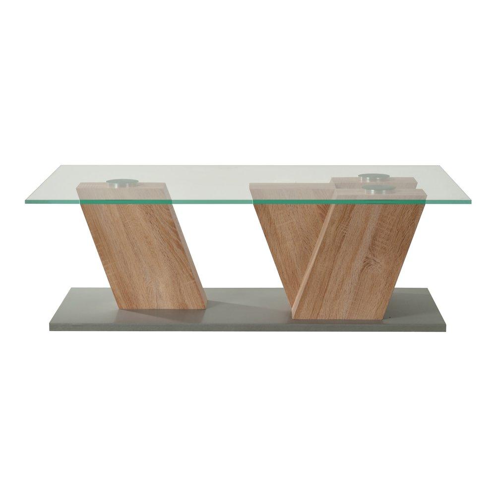 table basse plateau verre 117x53x42cm pieds chene clair