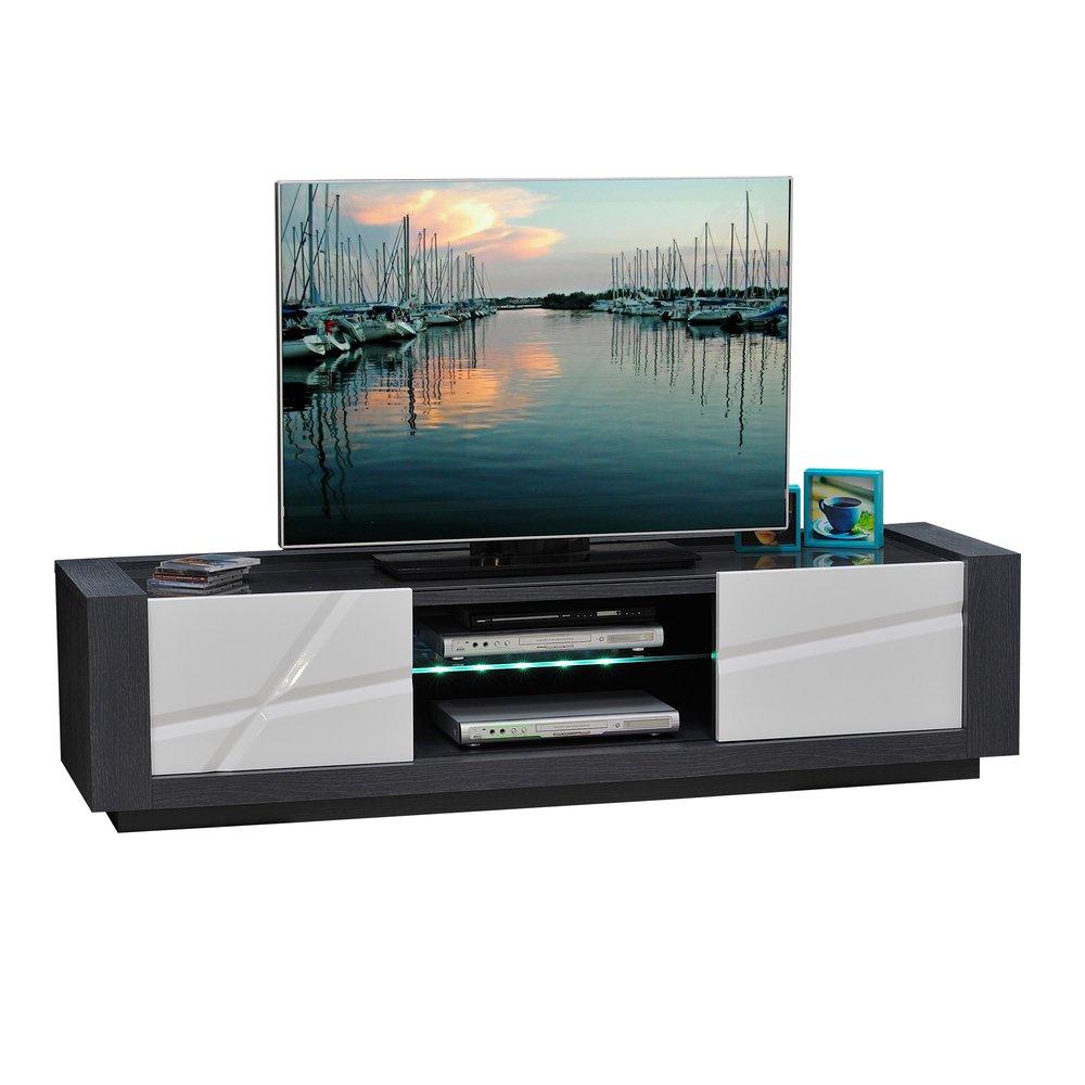 Banc Tv 2 Portes Avec Leds Coloris Blanc Laque Et Gris Maison Et Styles