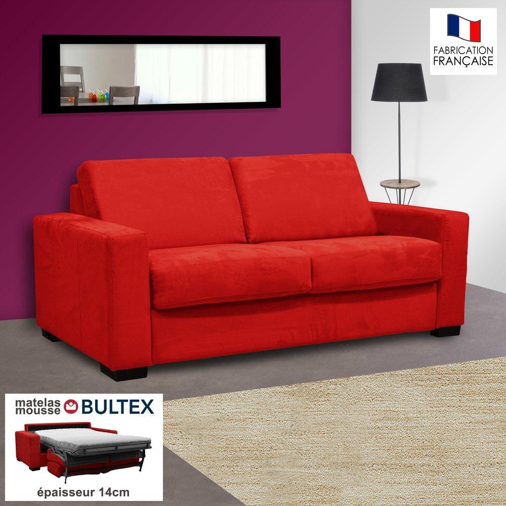 Canape 2 Places Convertible Bultex Microfibre Coloris Rouge Louisa Maison Et Styles