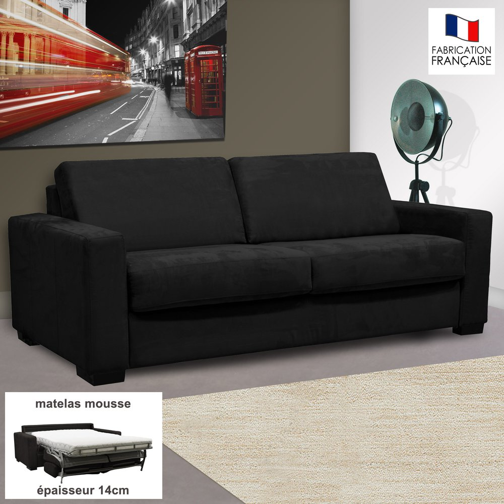 Canapé - Canapé 3 places convertible 14cm microfibre noir - LOUISA photo 1