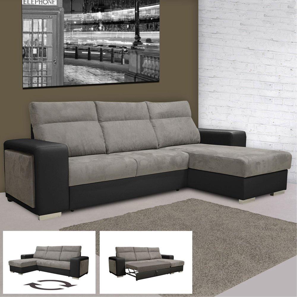 Canapé - Fauteuil - Canapé d'angle réversible convertible PU-microfibre noir et gris photo 1