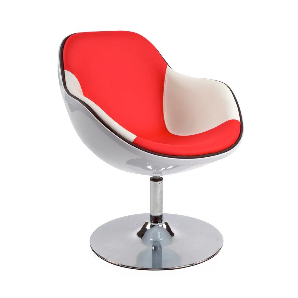 Fauteuil - Fauteuil design 68x68x82,5cm blanc et rouge - DAYTO photo 1