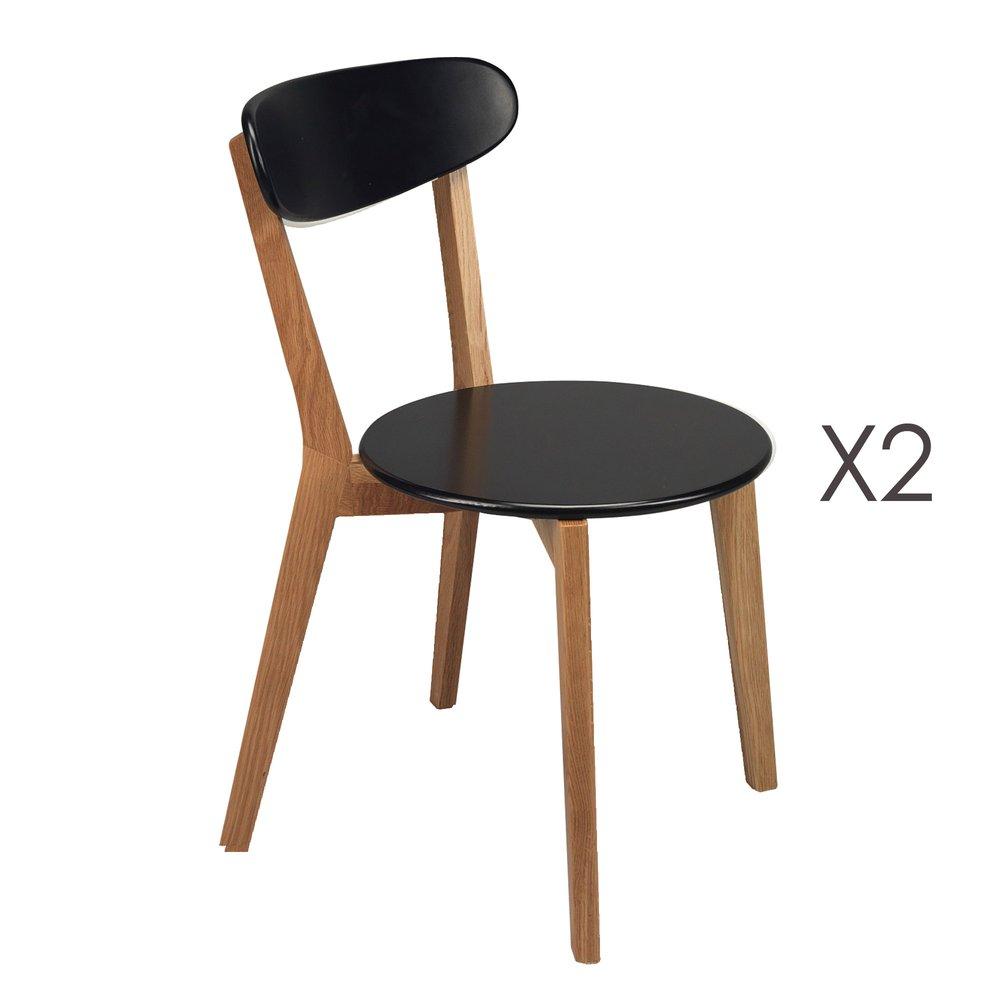 Chaise - Lot de 2 chaises, pieds bois, assise noire coloris hêtre photo 1