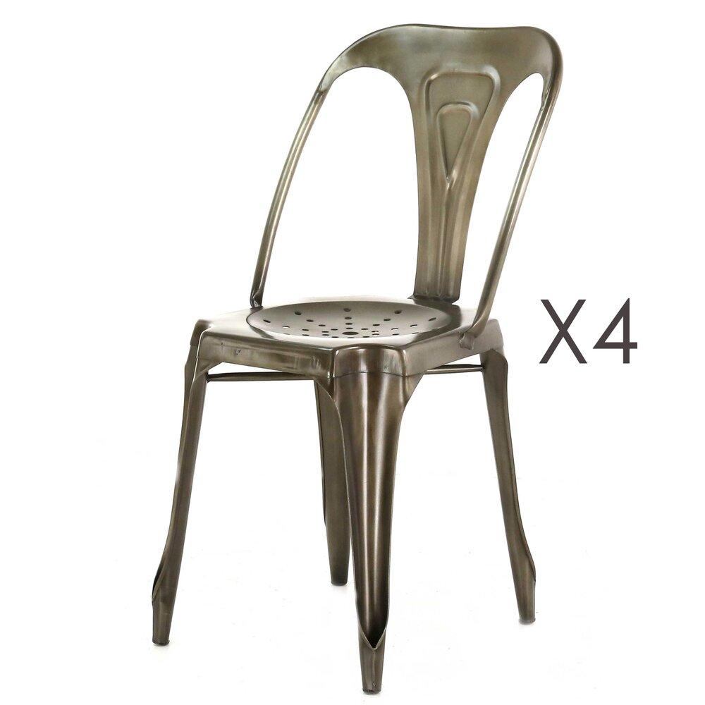 Chaise - Lot de 4 chaises métal vieilli - TALY photo 1