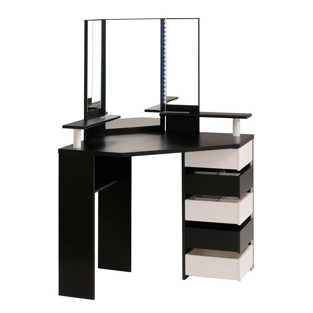 Commode A Langer Angle coiffeuse d'angle avec leds, 5 tiroirs noir et blanc