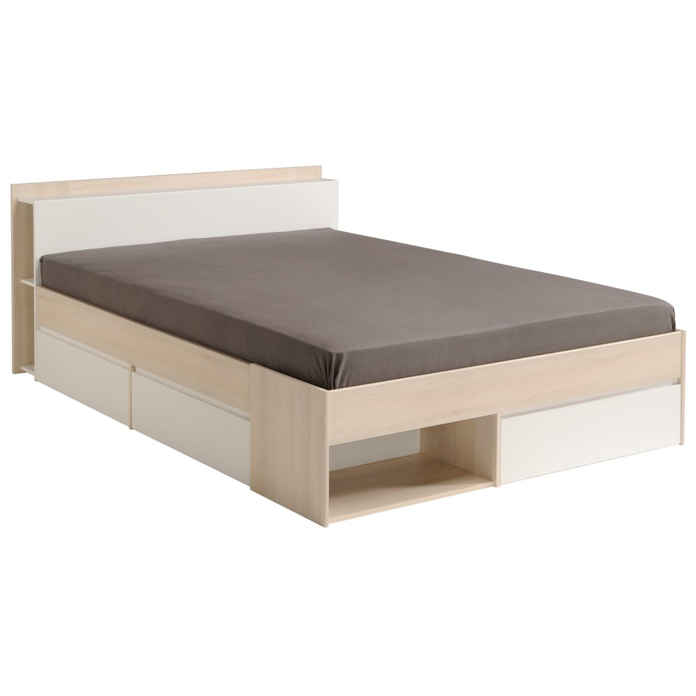 lit 140x190 200 cm avec rangements decor acacia et blanc miya