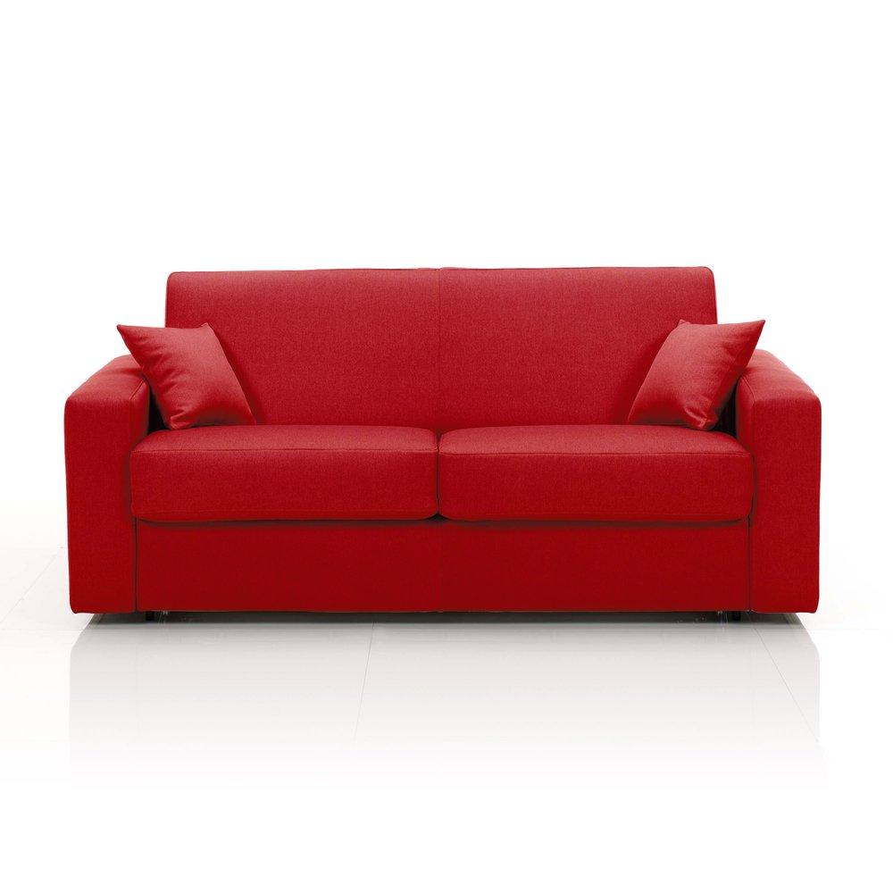 Canapé - Canapé convertible 2 places maxi, tissu déhoussable - rouge photo 1
