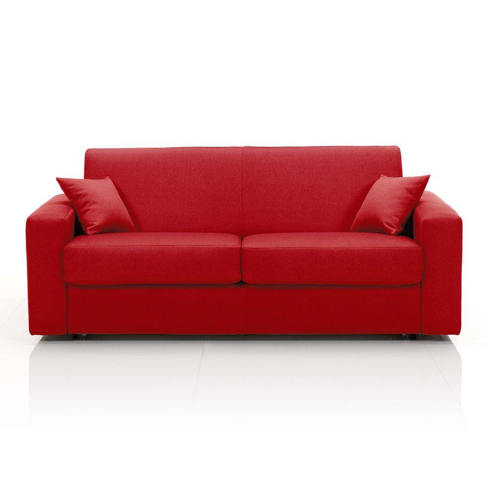 Canapé - Canapé convertible 3 places, tissu déhoussable - rouge photo 1