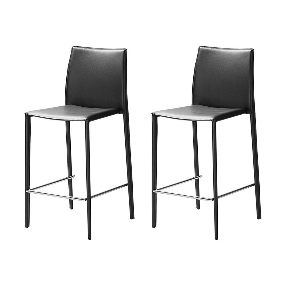 Chaises - Lot de 2 chaises de bar en cuir recyclé coloris noir - BORA BORA photo 1