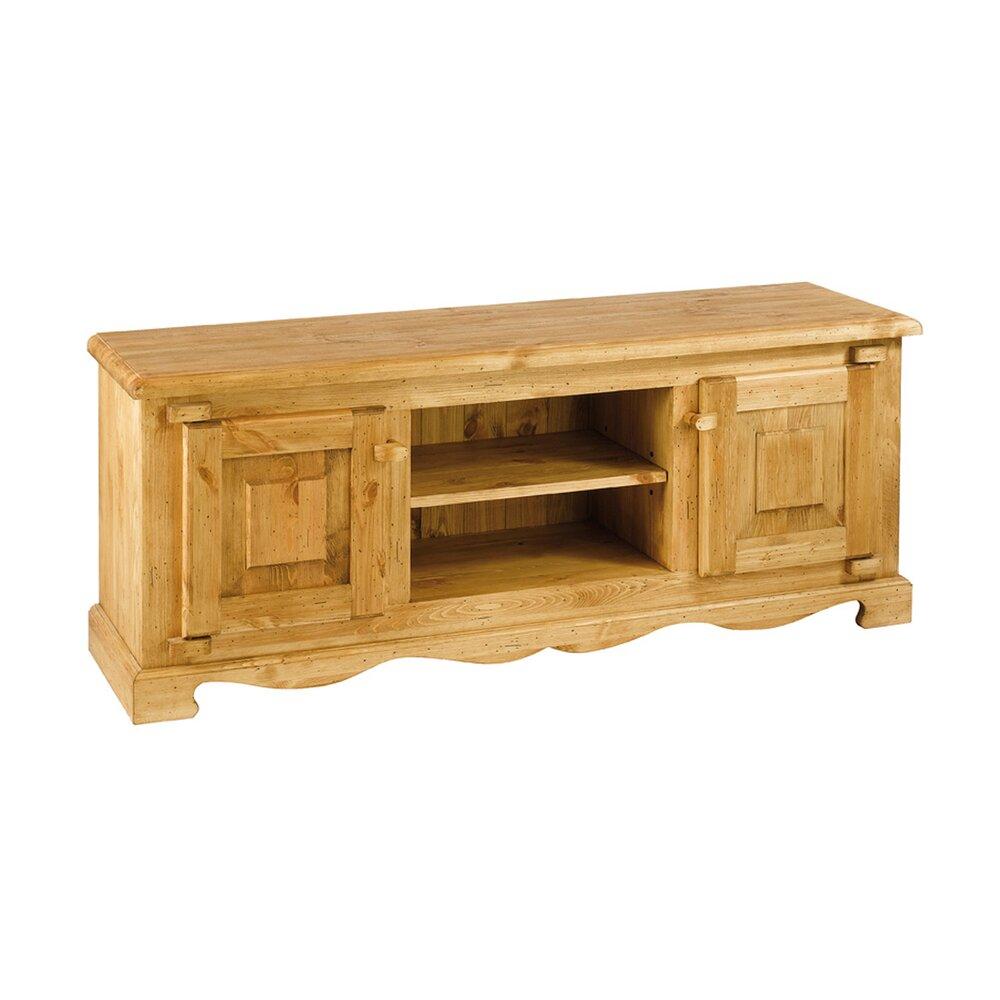 Meuble En Pin Ciré meuble tv rustique en pin massif 2 portes + 2 niches - farm