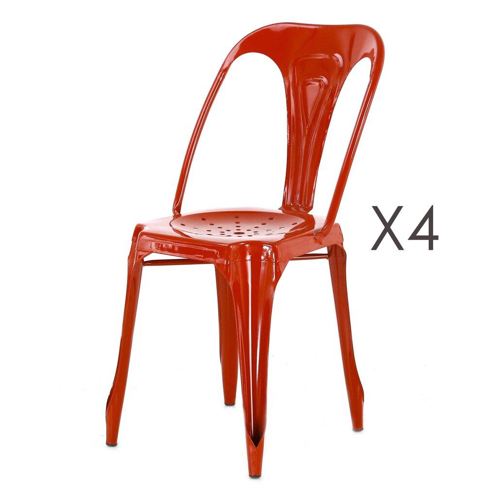 Chaises - Lot de 4 chaises en métal coloris rouge  - TALY photo 1