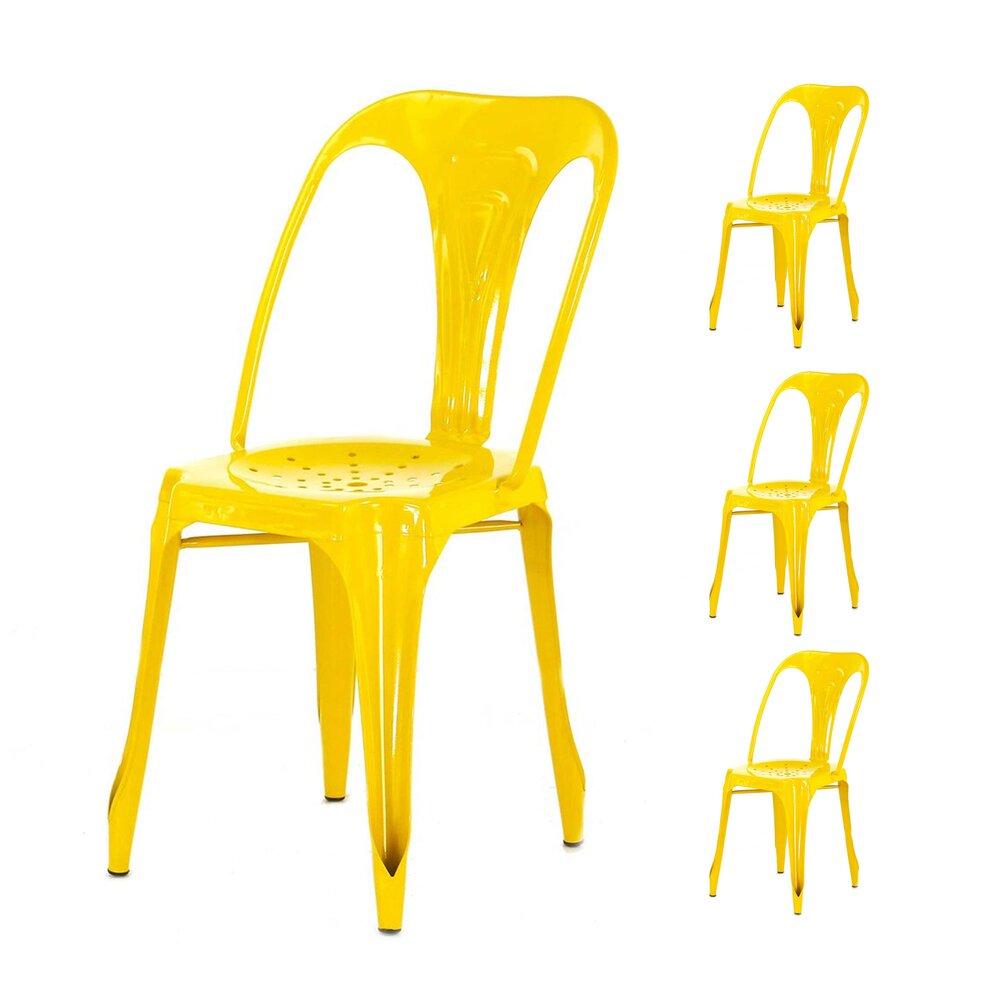 Chaise - Lot de 4 chaises en métal coloris jaune  - TALY photo 1