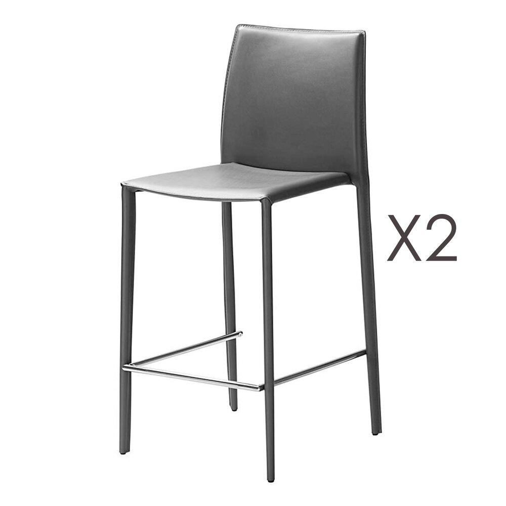 Tabouret de bar - Lot de 2 chaises de bar en cuir recyclé coloris anthracite - BORA BORA photo 1